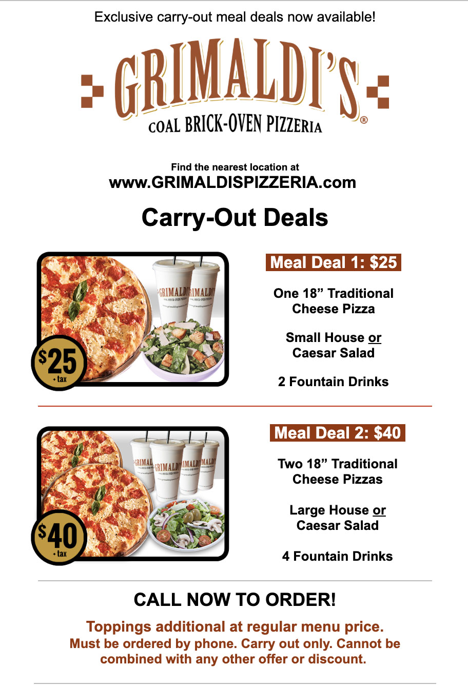 Grimaldi's Carry-Out Meal Deals